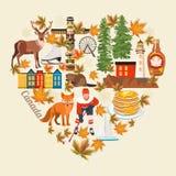 Accueil au Canada Forme de coeur Conception légère Carte postale colorée Illustration canadienne de vecteur Rétro type Carte post illustration libre de droits