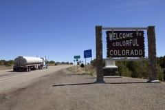 Accueil au panneau routier du Colorado Photographie stock