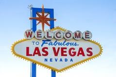 Accueil au signe célèbre fabuleux de Las Vegas Image libre de droits