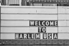 Accueil au signe de Harlem Etats-Unis Photographie stock libre de droits