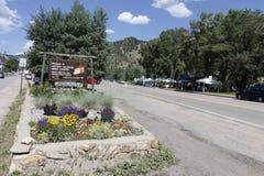 Accueil au signe historique de pays d'exploitation du Colorado Photos stock
