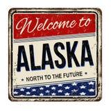 Accueil au signe rouillé en métal de vintage de l'Alaska Photographie stock