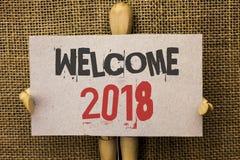 Accueil conceptuel 2018 d'apparence d'écriture de main La célébration des textes de photo d'affaires nouvelle célèbrent le souhai Image stock