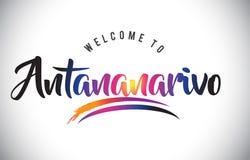 Accueil d'Antananarivo au message dans des couleurs modernes vibrantes pourpres Illustration de Vecteur