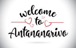 Accueil d'Antananarivo au texte de vecteur de message avec les coeurs rouges d'amour Illustration de Vecteur