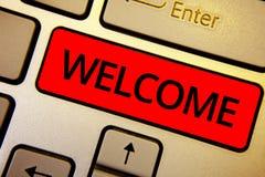 Accueil d'apparence de signe des textes Reconnaissance chaude de salutation de photo conceptuelle pour quelqu'un clés remerciées  Image stock