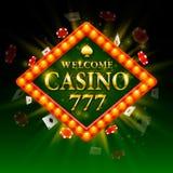 Accueil d'enseigne de casino Panneau d'affichage 777 Rétro cadre léger brillant Photo stock