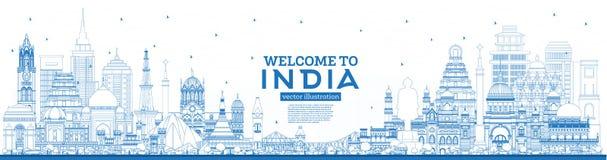 Accueil d'ensemble à l'horizon de ville de l'Inde avec les bâtiments bleus illustration libre de droits