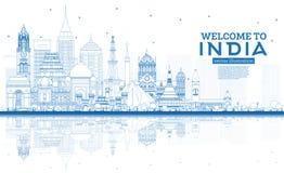 Accueil d'ensemble à l'horizon de ville de l'Inde avec les bâtiments bleus et les réflexions illustration libre de droits
