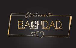 Accueil de Bagdad à l'illustration de inscription au néon de vecteur de typographie des textes d'or illustration libre de droits