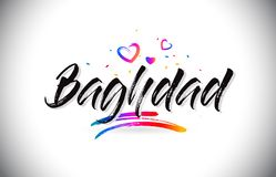 Accueil de Bagdad au texte de Word avec des coeurs d'amour et le vecteur manuscrit créatif de création de fonte illustration stock