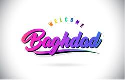 Accueil de Bagdad pour exprimer le texte avec le vecteur manuscrit rose pourpre créatif de conception de forme de police et de br illustration stock