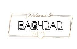 Accueil de Bagdad pour textoter la typographie de inscription au néon Word pour le logotype, insigne, icône, carte postale, logo, illustration libre de droits