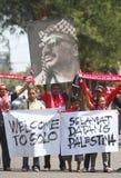 Accueil de l'équipe de football de la Palestine Photo stock
