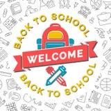 Accueil de nouveau à la carte d'école avec le sac à dos, le stylo et le crayon d'école Photo libre de droits