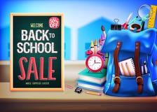 Accueil de nouveau à la vente d'école jusqu'à 50% dans le tableau vert illustration stock