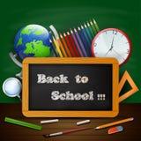 Accueil de nouveau au fond d'école avec l'équipement d'école Images stock