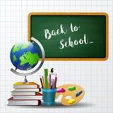 Accueil de nouveau au fond d'école avec l'équipement d'école Photographie stock libre de droits