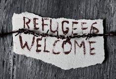 Accueil de réfugiés de barbelé et de textes images libres de droits
