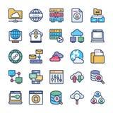 Accueil de réseau et ensemble plat d'icônes de serveurs illustration de vecteur