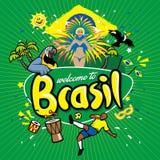 Accueil de série de salutation vers le Brésil illustration stock