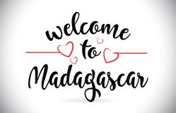 Accueil du Madagascar au texte de vecteur de message avec les coeurs rouges d'amour I Illustration Libre de Droits