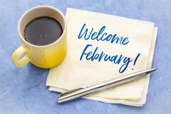 Accueil février sur la serviette photographie stock libre de droits