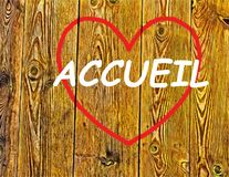 Accueil. HOME desire to return to the memory of love hearts background illustration travel homeland become a wood plank Stock Photos