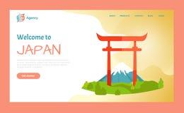 Accueil vers le Japon, site Web de destination de porte de Torii illustration stock