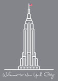 Accueil vers New York City carte de voeux avec l'icône d'Empire State Building illustration libre de droits