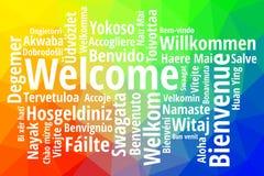 Accueillez dans le vecteur différent de wordcloud de langues illustration de vecteur