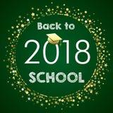 Accueillez de nouveau à l'école 2018 dessus sur le tableau vert Image stock