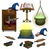 Acculite ancient manuscripts, books, pot with potion, witch hat. And magic chest. Big set in cartoon style. Vector illustration on a white background stock illustration