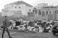 Accumulated garbage. Parla, Madrid, Sapin. January 08, 2015. Due to a strike by workers in the cleaning that lasts more than a month, Parla accumulate many tons Stock Image