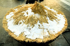 Accumulated Snow Rice Paddy Hat Royalty Free Stock Images