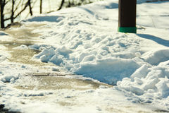 Accumulated snow road. Every time I look at the snow, I just want to say stay frosty Stock Photography