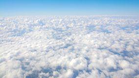 Accumulation of clouds under moving airplane, cloudscape, fulfilling dreams. Stock footage stock video