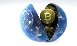 The accumulation of days Bitcoin World, 3d rendering Royalty Free Stock Photography