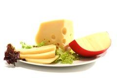 Accumulation deux jaune de fromage et découpée en tranches Photos stock