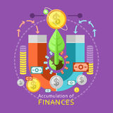 Accumulation of Finances Concept. Of a magnet attracting golden coins from one side to the other. Concept in flat design Stock Photo