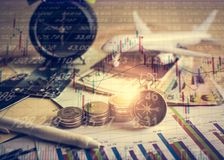 Accumulation of future funds with stock market information graph Royalty Free Stock Photo