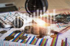 Accumulation of future funds with stock market information graph Stock Image