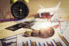 Accumulation of future funds with stock market information graph Stock Photography