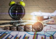 Accumulation of future funds with stock market information graph Stock Photo