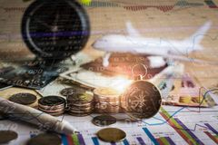 Accumulation of future funds with stock market information graph Stock Photos