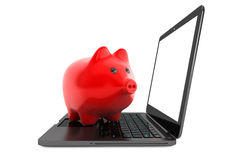 Accumulation of information Concept. Moder Laptop with Piggy Ban Royalty Free Stock Photo