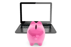 Accumulation of information Concept. Moder Laptop with Piggy Ban. K on a white background Stock Photography