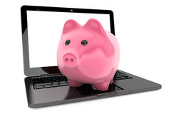 Accumulation of information Concept. Moder Laptop with Piggy Ban Stock Photo