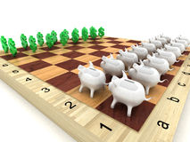 Accumulation and investments. Pigs of a coin box and signs on dollar on a chessboard Royalty Free Stock Photography