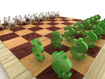 Accumulation and investments. Pigs of a coin box and signs on dollar on a chessboard Stock Photography